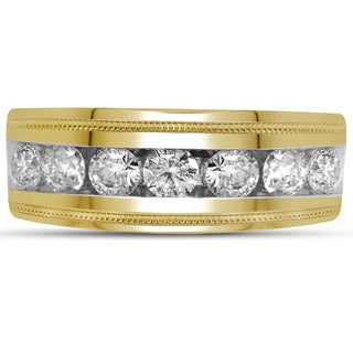 10k Yellow Gold Men's 1ctTDW Round Diamonds Channel Fashion Wedding Band (H-I, I1-I2)