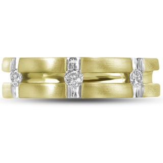 10k Yellow Gold Men's 1/4ct TDW Brilliant Round Diamond 3-stone Fashion Band (H-I, I1-I2)