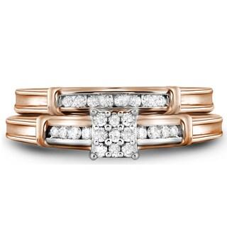 10k Rose Gold 1/4ct TDW Round Diamond Bridal Ring Set (H-I, I1-I2)