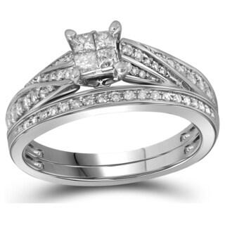 10k White Gold 1/2ct TDW Princess and Round Diamond Bridal Ring Set (H-I, I1-I2)