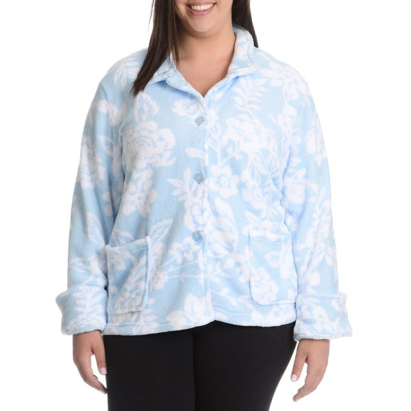 La Cera Women's Plus Size Floral Print Plush Sleep Shirt