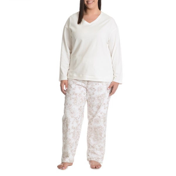 La Cera Women's Plus Size Antique Floral Print Pant Pajama Set