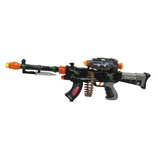 Velocity Toys Rapid Fire Lights and Sounds Machine Gun Toy with Revolving Bullet Belt and Bayonet