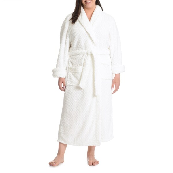 La Cera Women's Plus Size Textured Plush Full-Length Bath Robe