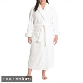 La Cera Women's Plus Size Textured Plush Full-Length Bath Robe