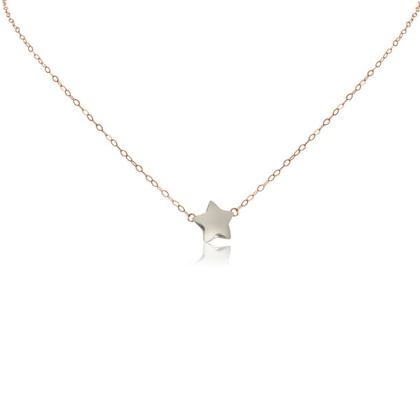 Gioelli 14k Two-tone Gold Star Pendant Chain Necklace