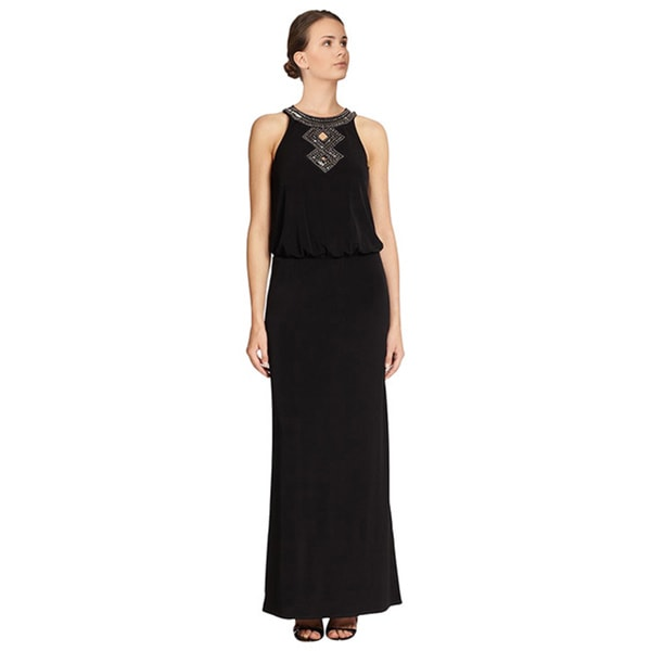 Laundry Black Jersey Embellished Blouson Cutout Evening Gown Dress
