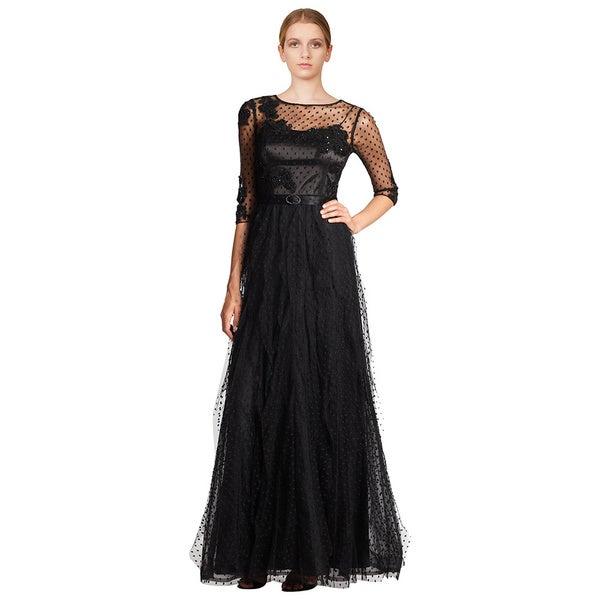 Teri Jon Black Dotted Mesh Beaded Floral Lace 3/4 Sleeve Eve Gown Dress