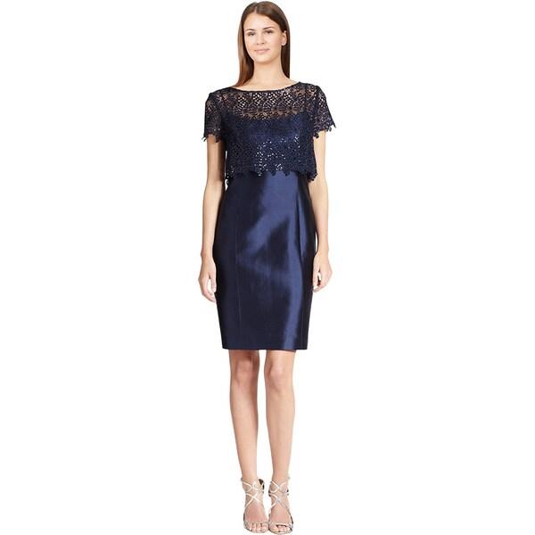 Teri Jon Navy Blue Gazar Sequin Lace Popover Cocktail Sheath Evening Dress