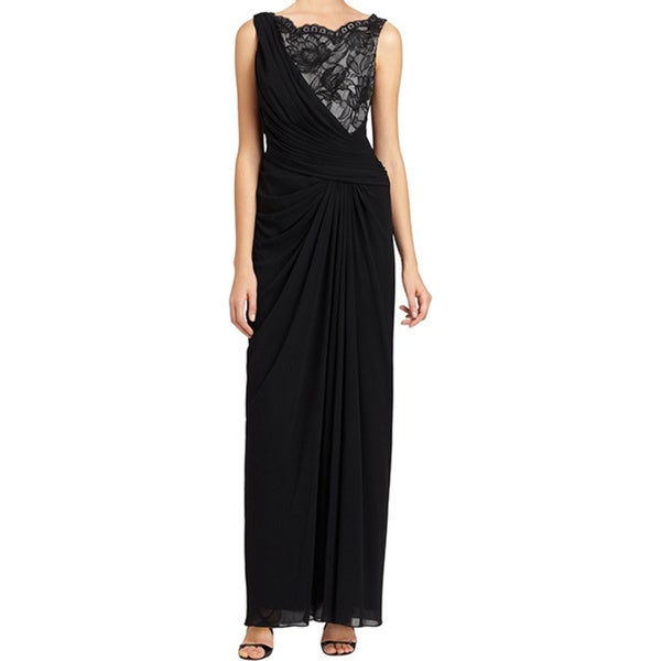 Tadashi Shoji Black Draped Lace Inset Chiffon Formal Evening Gown Dress