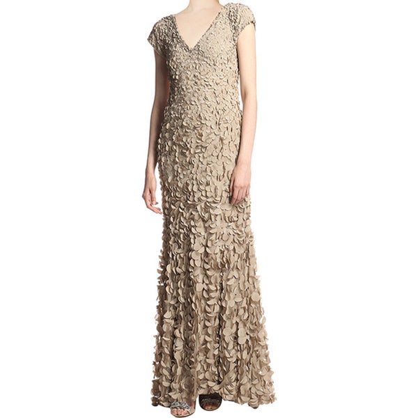 Theia Sylvia Toasted Almond Petal V-Neck Cap Sleeve Formal Evening Gown Dress
