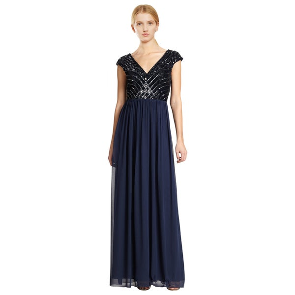 Aidan Mattox Beaded Chiffon Cap Sleeved Formal Evening Gown Dress