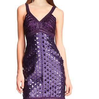 Sue Wong Purple Sequined Beaded V-Neck Sleeveless Sheath Cocktail Dress
