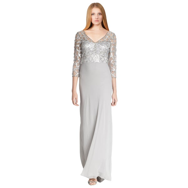 Sue Wong Gray Sequin Illusion Top 3/4 Sleeve V-Neck Evening Gown Dress