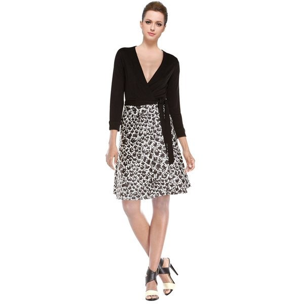 Diane Von Furstenberg Black White Amelia Surplice Wrap Day Cocktail Dress
