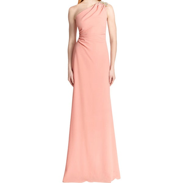 David Meister Pink Sorbet Sleeveless One Shoulder Formal Evening Gown Dress