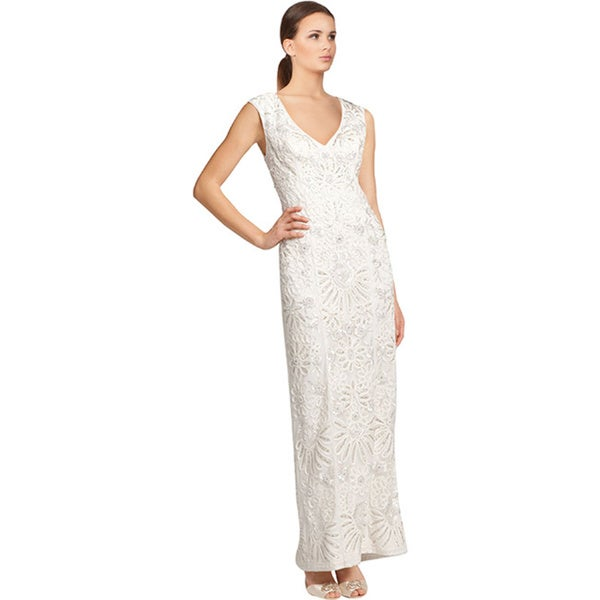 Sue Wong White Embroidered Cap Sleeve Fitted Beaded Evening Gown Dress