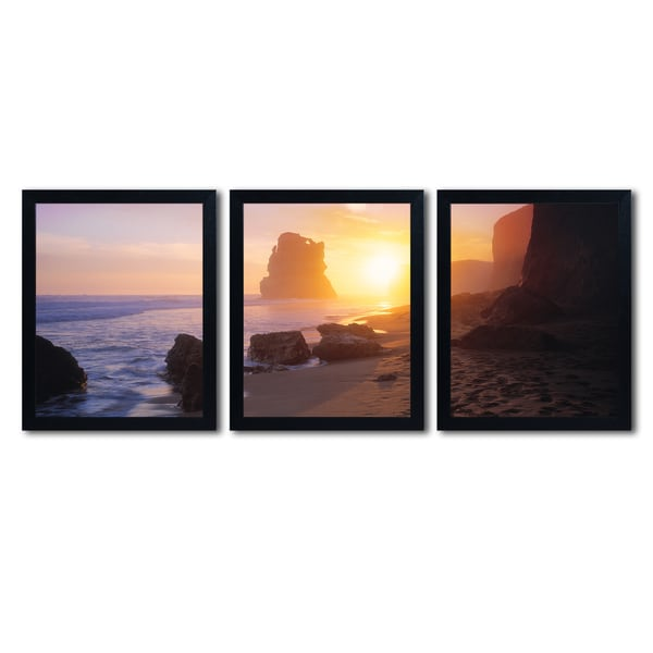 David Evans 'Apostles from the Beach' Three 16x20 Black Framed Canvas Wall Art Set