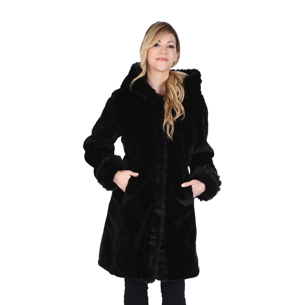 Excelled Women's Faux Fur Hooded 3/4 Length