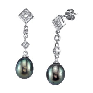 Sterling Silver Drop Shaped Black Freshwater Pearl and Crystal Earrings (9-10mm)