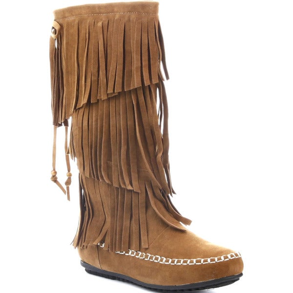 CAPE ROBBIN CARMELA-GX-5 Women's Moccasin 3 Layers Fringe Mid-calf Boots