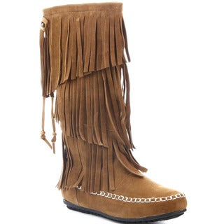 CAPE ROBBIN CARMELA-GX-5 Women's Moccasin 3 Layers Fringe Mid-calf Boots