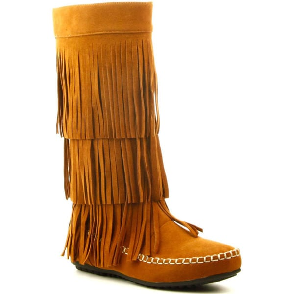 CAPE ROBBIN CARMELA-GX-1 Women's Moccasin 3 Layers Fringe Mid Calf Boots