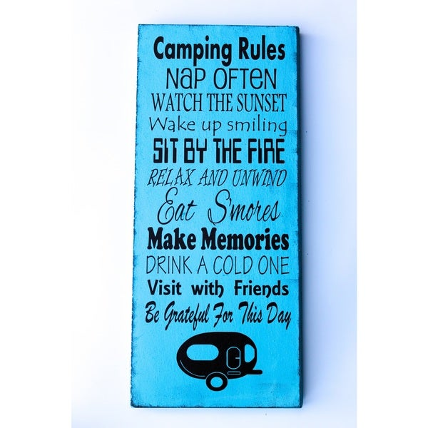 Camping Rules Wood Decor Accent