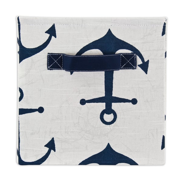 Anchors Premier/Navy Slub Storage Bin with Handle