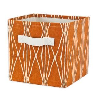 Handcut Shapes Crushed Orange Storage Bin with Tanner Saxony Handle