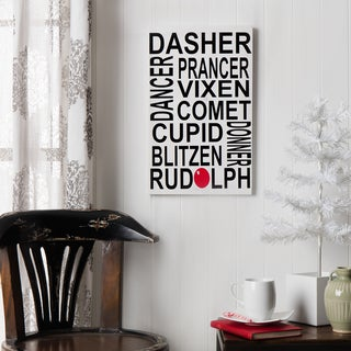 Reindeer Names Board Wood Decor Accent