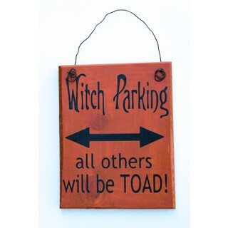 Witch Parking Sign Wood Decor Accent