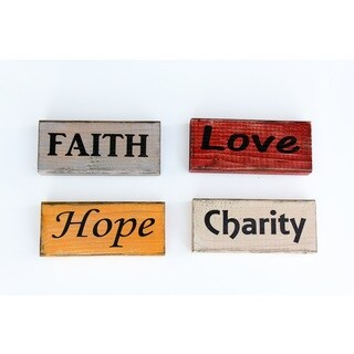 Faith Hope Charity and Love Blocks Wood Decor Accent