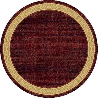 Renaissance Red Contemporary Border Area Rug (5'3 x 5'3 Round)