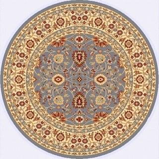 Renaissance Blue/Cream Traditional Print Area Rug (5'3 x 5'3 Round)