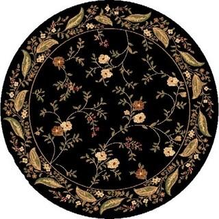Renaissance Black Floral Border Area Rug (5'3 x 5'3 Round)