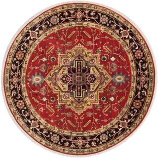 Ecarpetgallery Serapi Heritage Dark Copper Wool Medallion Rug Round (8'0 x 8'0)