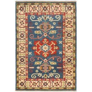 Ecarpetgallery Finest Gazni Dark Faded Blue Wool Geometric Rug (2'10 x 4'1)