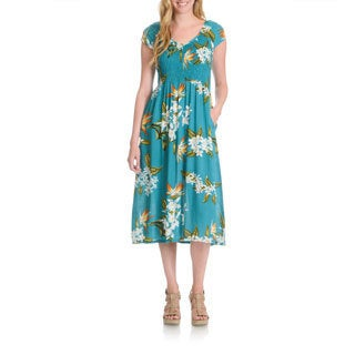 La Cera Women's Tropical Floral Print Dress