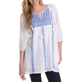 La Cera Women's 3/4 Sleeve Embroidered Tunic