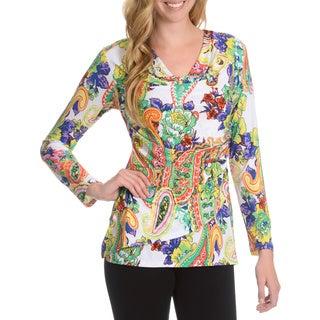 La Cera Women's Paisley & Floral Print Faux Wrap Top