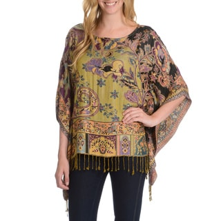 La Cera Women's Embellished Tapestry Print Poncho (One Size)