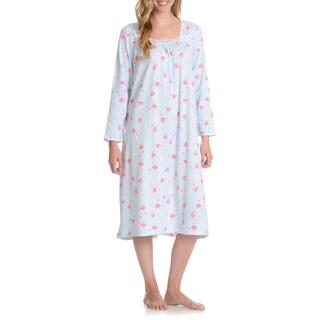 La Cera Women's Floral Print Long Sleeve Night Gown