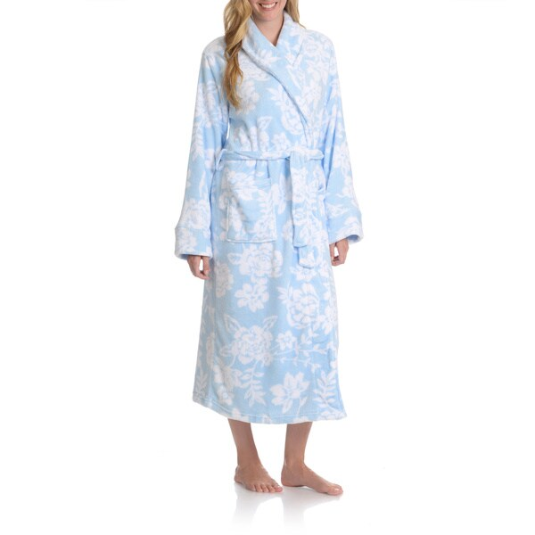 La Cera Women's Full Length Floral Print Plush Bath Robe Large Size in White/ Blue (As Is Item)
