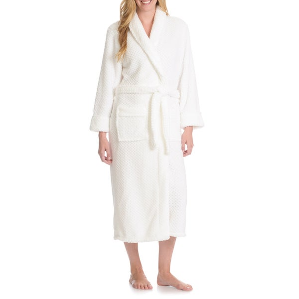 La Cera Women's Textured Plush Full-Length Bath Robe