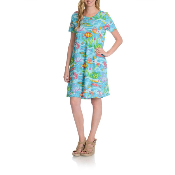 La Cera Women's Fish Print T-Shirt Dress