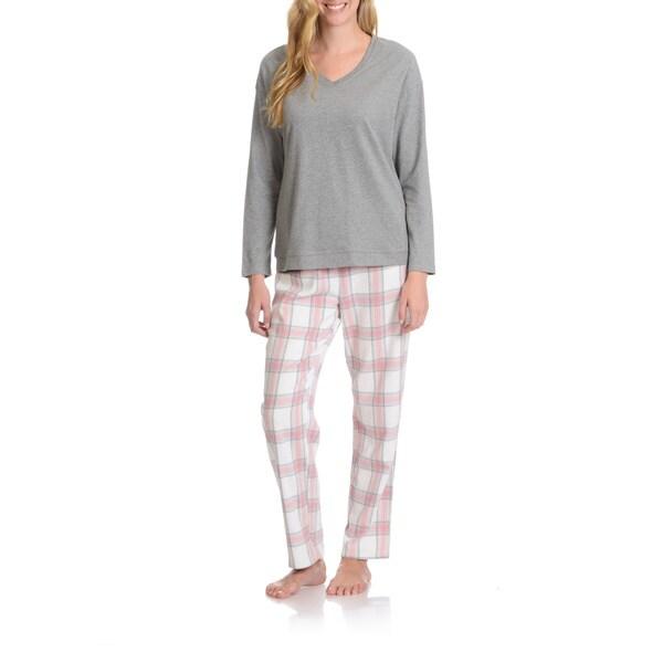 La Cera Women's Plaid Pant Pajama Set