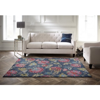 Spaces by Welspun Transitional Floral Jewel-toned Flowers Blue Area Rug (5' x 7')