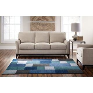 Spaces by Welspun Contemporary Geometric Blue, Green, And Grey Blue Area Rug (8' x 10')