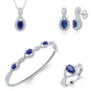 Divina Rhodium over Brass Sapphire and Diamond Accent 4-piece Jewelry Set (I-J, I2-I3)